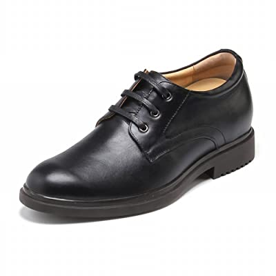 TopoutShoes Elevator Dress Shoes Height Increasing Formal Shoes Tall 2.2inch Plain Toe Black Oxfords