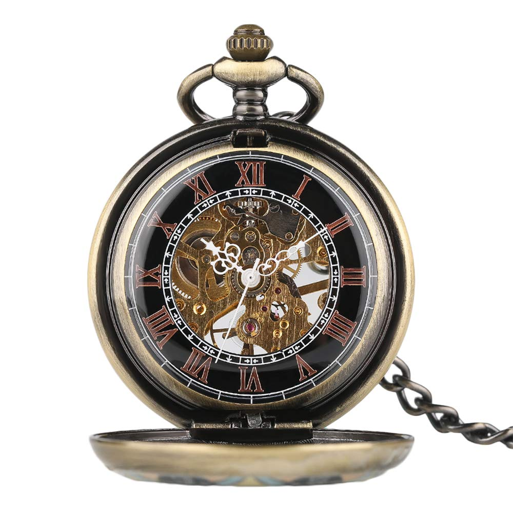 Creative Pocket Watch, Mechanical Hand Winding Pocket Watch, Gifts for Men Women by mygardens (Image #4)