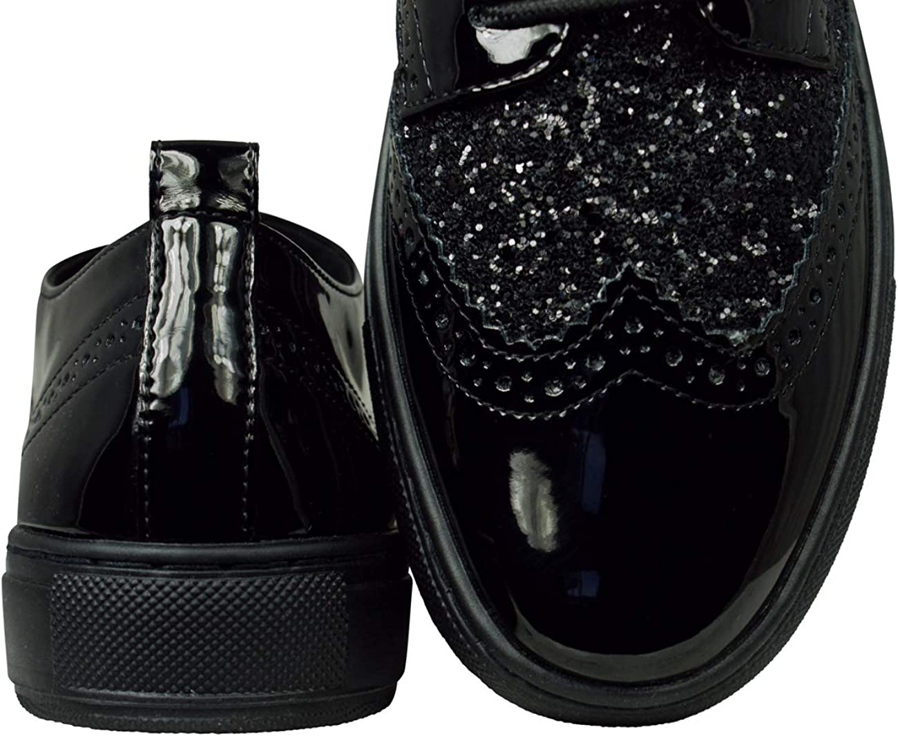Geox D Breeda A Patent Glitter Casual Fashion Shoes Lace Up Oxfords