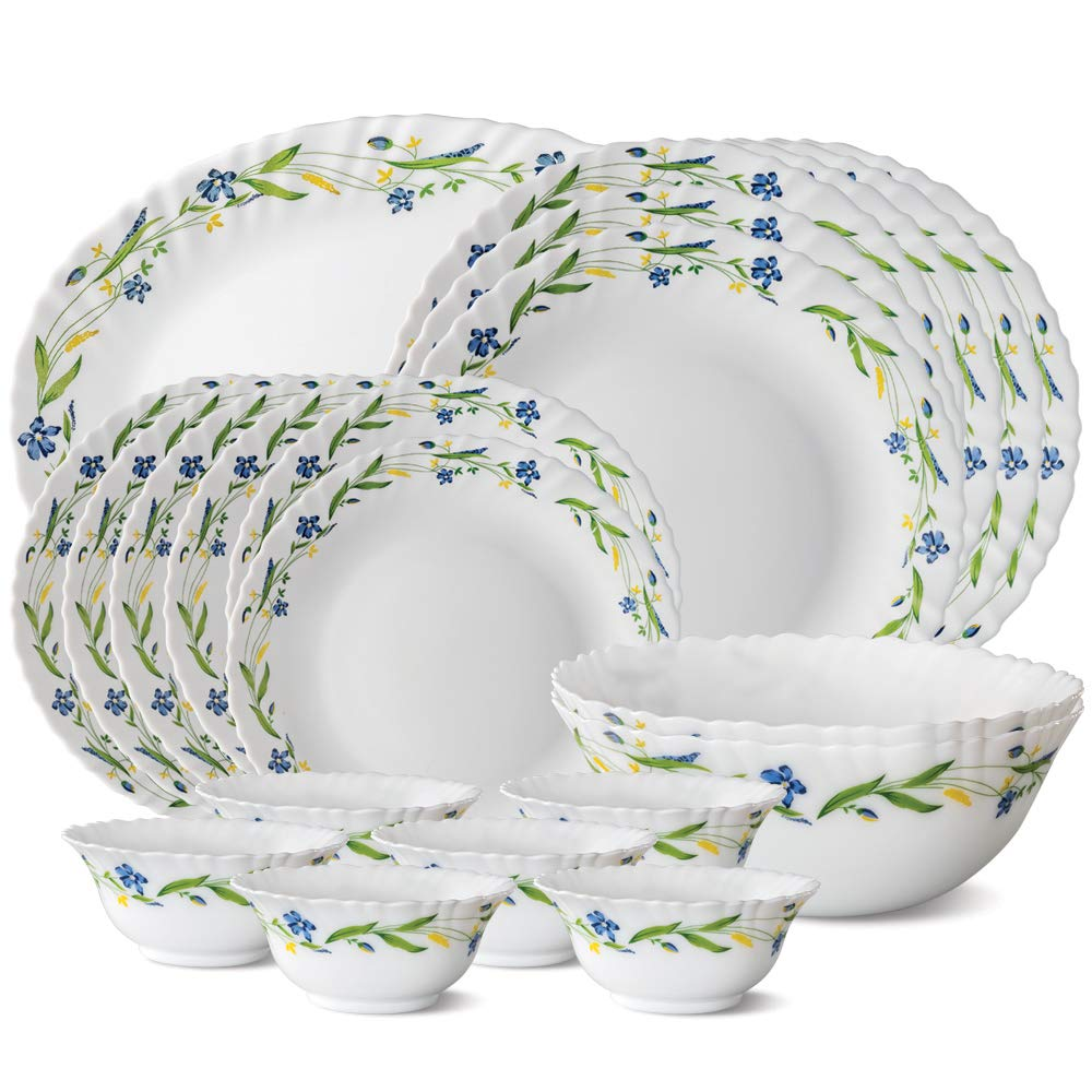 Larah by Borosil Cripper Opalware Dinner Set, 21-Pieces, White