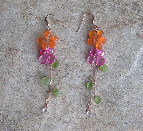 Pink Quartz and Carnelian Flower Earrings with Peridot leaves wrapped in Rose Gold Filled Wire