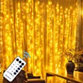 MAGGIFT 304 LED Curtain String Lights with Remote Control, Christmas Fairy String Lights Holiday Backdrop for Indoor Outdoor Bedroom Window Wedding Party Decoration, Warm White