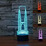 SUPERNIUDB Twin Towers 3D Night Light Table Light 3D Lamp Table Lamp 3D LED USB 7 Color Change LED Table Lamp Xmas Toy Gift