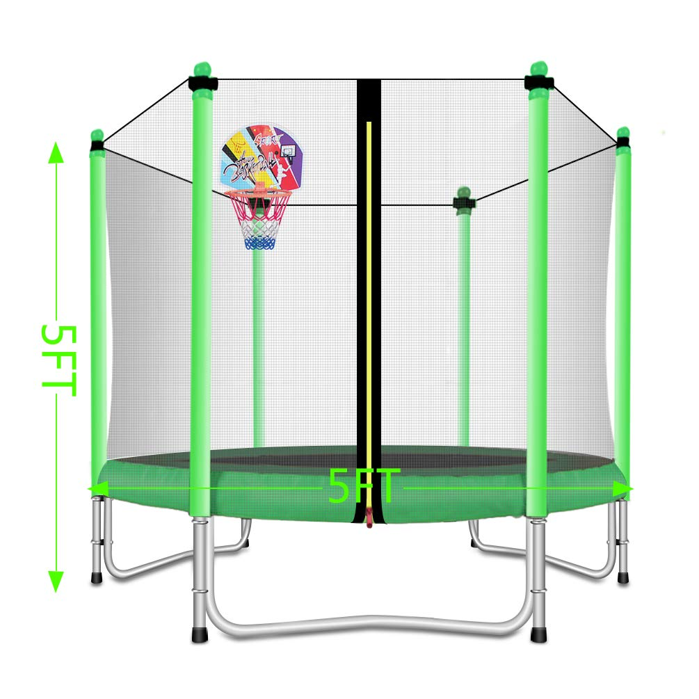 Lovely Snail Trampoline with Basketball Hoop-Trampoline for Kids-Green-5 Feet by Lovely Snail (Image #5)