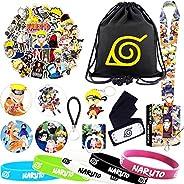 Naruto Gift Set, 1 Drawstring Bag 5 Bracelet 1 Lanyard 62 Pcs Stickers 1 Phone Ring 1 Keychain 2 Tattoo Sticke