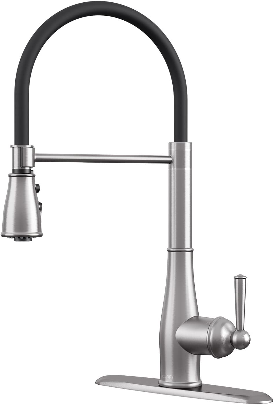 CLOFY Kitchen Faucet, kitchen faucets with pull down sprayer, kitchen sink faucet, Single Handle – Anti-Stain Brushed Nickel, DIY Installation