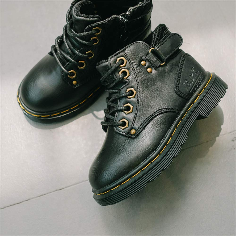 eleganceoo Boys /& Girls Waterproof Outdoor Lace-up Leather Winter Snow Ankle Boots