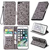 anzeal iPhone 8 Plus Case,iPhone 7 Plus Case, [Cat Embossing] Wallet Case PU Leather Wallet Case with [Kickstand] &[ID Card Slots] Protective Case Cover for iPhone 7 Plus/iPhone 8 Plus Grey