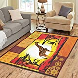 InterestPrint Home Decoration Sunset Africa Giraffes Area Rug 7' x 5', African Ethnic Carpet Rugs for Home Living Dining Room