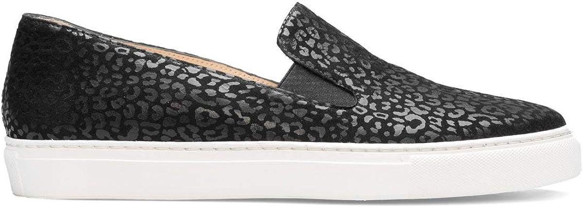 Beatriz - Zapatillas Sneakers Slip On de Vestir para Mujer en Piel - Planos Suela Gruesa - Cierre Elásticos - Moda Tendencia Sport Casual - - Jaguar Negro 00wpu