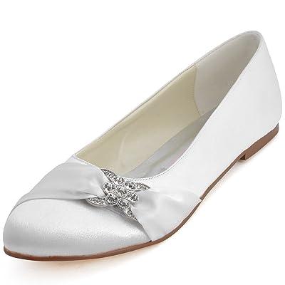 ElegantPark Women Closed Rhinestones Comfort Flats Pleated Satin Wedding Bridal Shoes   Flats