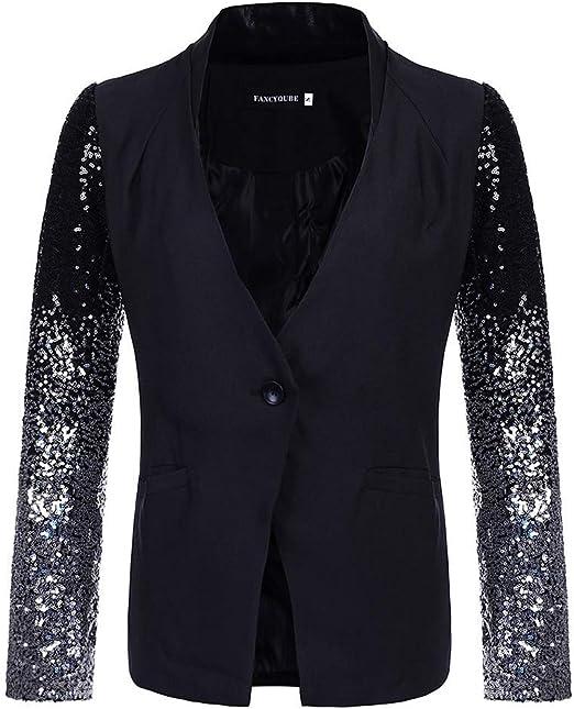 AJC Loisirs-Blazer Femmes Sweat-Blazer Avec 2-Bouton-Fermeture Veste De Sport Blanc//Noir