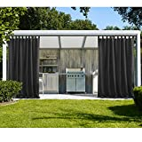 cololeaf Outdoor Curtain Panel Water Repellent for Porch Patio,Privacy Drape Top Tab Window Curtain with UV Ray Protected and Mildew Resistant ,Easy To Hang on Black 100W x 96L Inch (1 Panel)