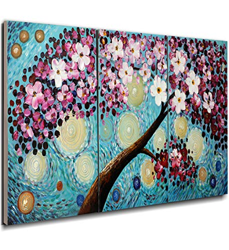 nted Oil Painting Home Wall Decor Modern Abstract Artwork Canvas Art 3D Cherry Blossoms Flowers Hand Painted Feng Shui Decoration Blooming Life Maple Tree Framed 3 Panels ()