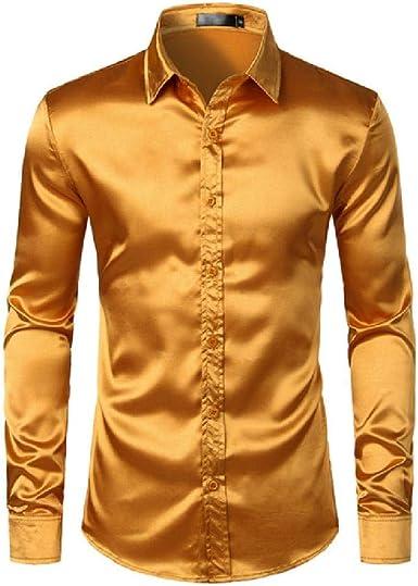 U/A Camisa de vestir de satén para hombre, corte entallado ...