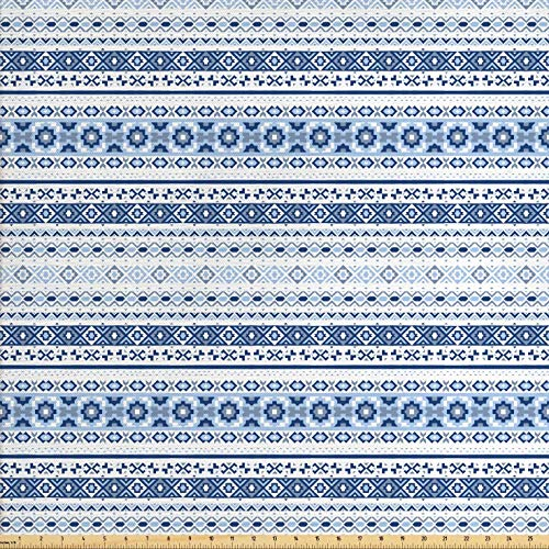 Lunarable Ethnic Fabric by The Yard, Ethnic Hand Drawn Tribal Motifs Geometric Borders Striped Native Art, Decorative Fabric for Upholstery and Home Accents, 3 Yards, Blue Pale Blue White