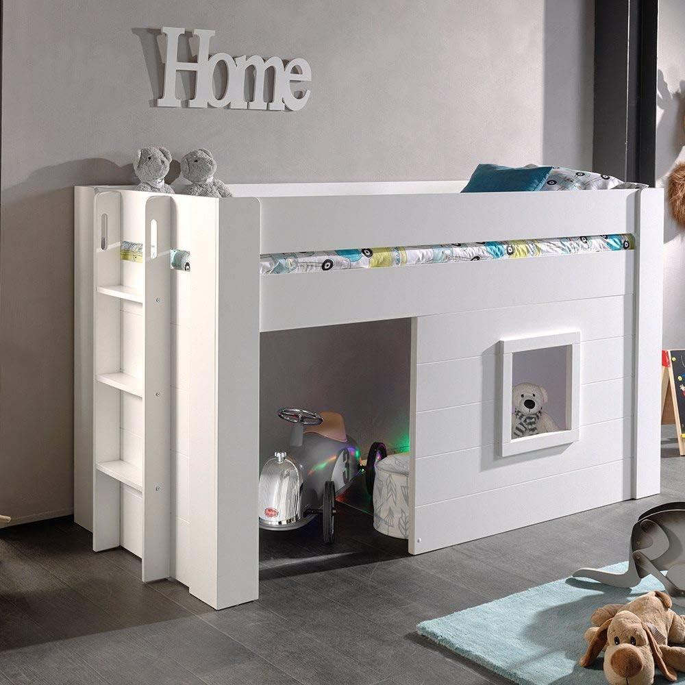 lit mezzanine avec cabane pour enfant