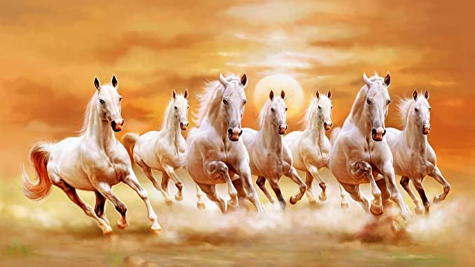 Shine India Seven Horses Painting,(As Per Vastu & Fengshui) Without Frame With Textured Borderon Rubberized Special Material, 48X27 Inch