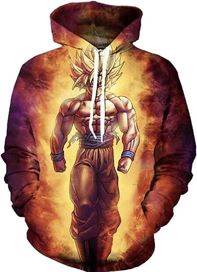 PIZZ ANNU Pull avec Capuche d'impression 3D Dessin animé Dragon Ball Hommes Sweat Shirt