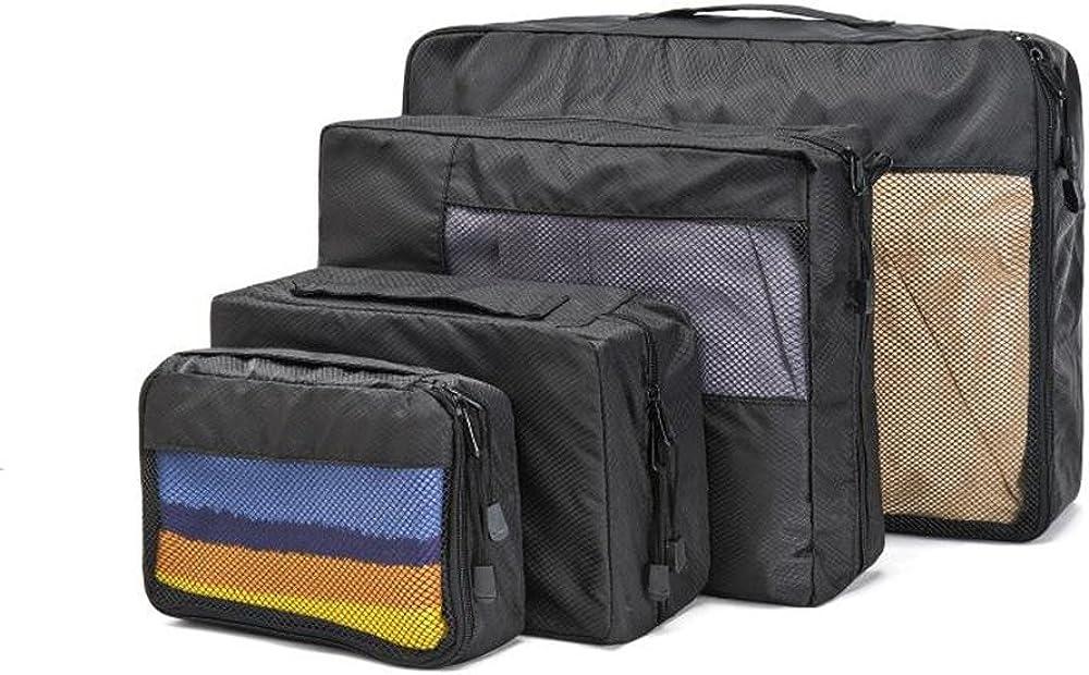Packing Cubes EyHome Travel Luggage Organizer Waterproof Storage Bag-Black-Mesh