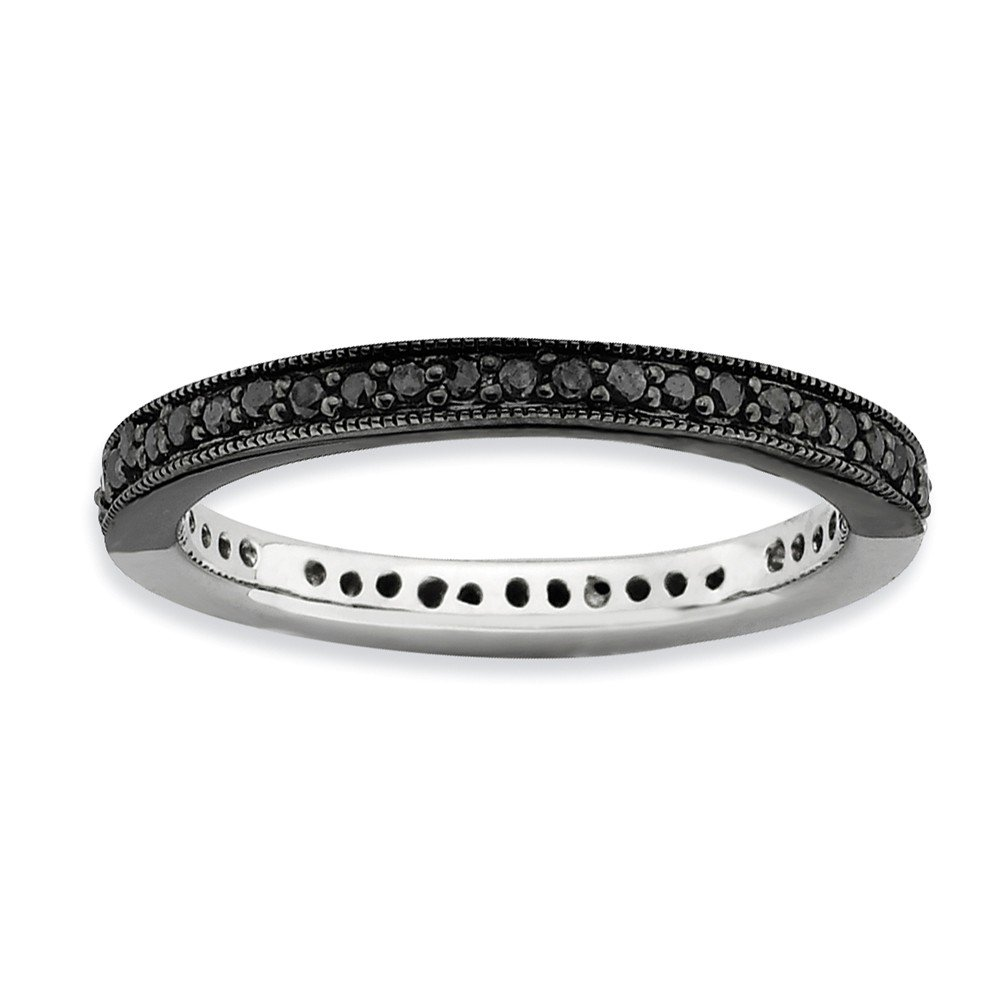 Roy Rose Jewelry Sterling Silver Stackable Expressions Half Black/White Diamond Ring Size 9