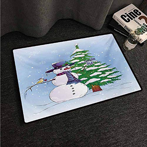(HCCJLCKS Interesting Doormat Christmas Snowman in The Winter with Mistletoe Present Top Hat and Scarf Tree and Bird Easy to Clean Carpet W30 xL39 Blue)