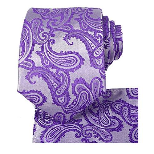 Lavender Tie Set Purple Paisley Necktie + Pocket Square by ()