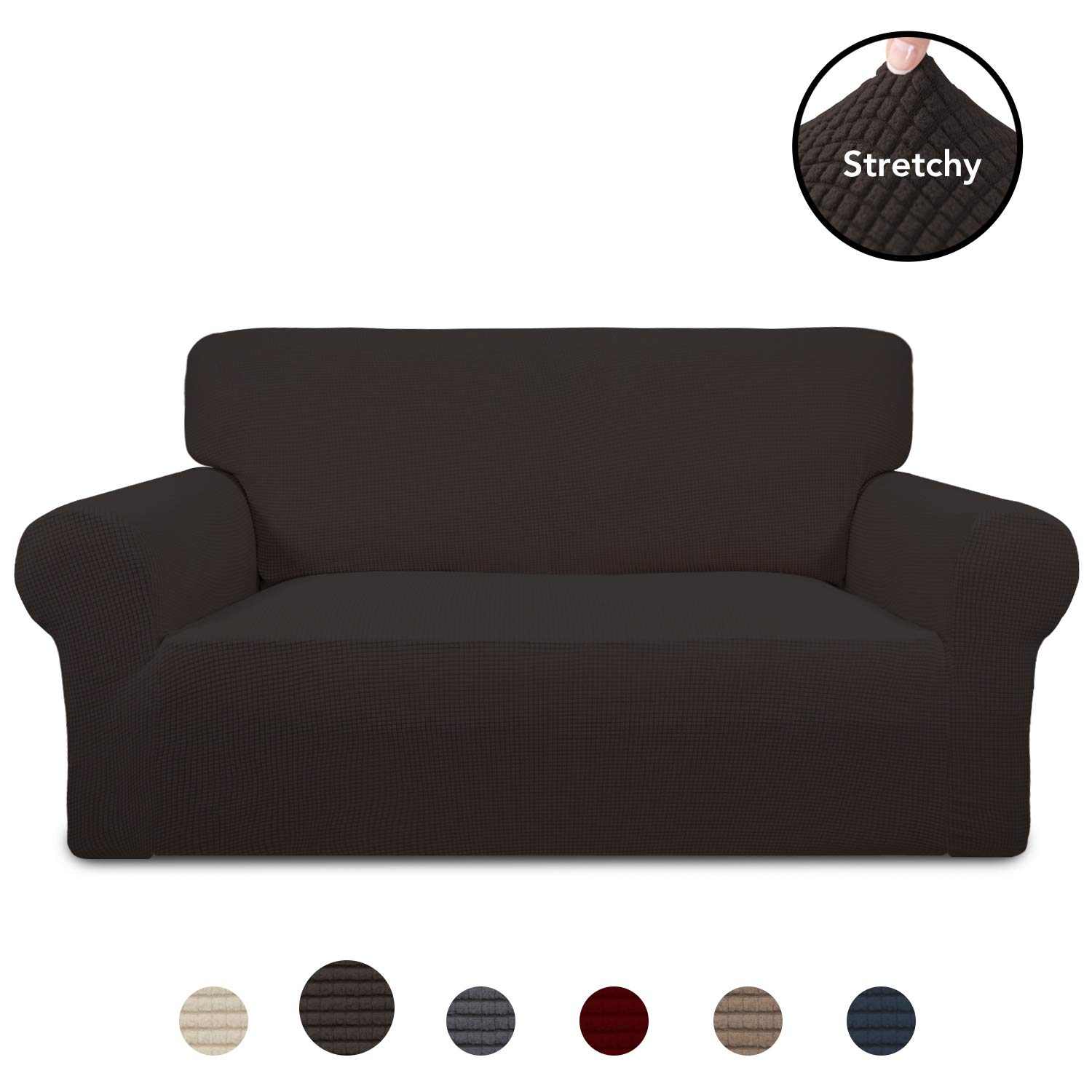 PureFit Stretch Loveseat Sofa Slipcover - Spandex Jacquard Anti-Slip Soft Couch Sofa Cover, Washable Furniture Protector with Anti-Skid Foam and Elastic Bottom for Kids (Loveseat, Chocolate) by PureFit