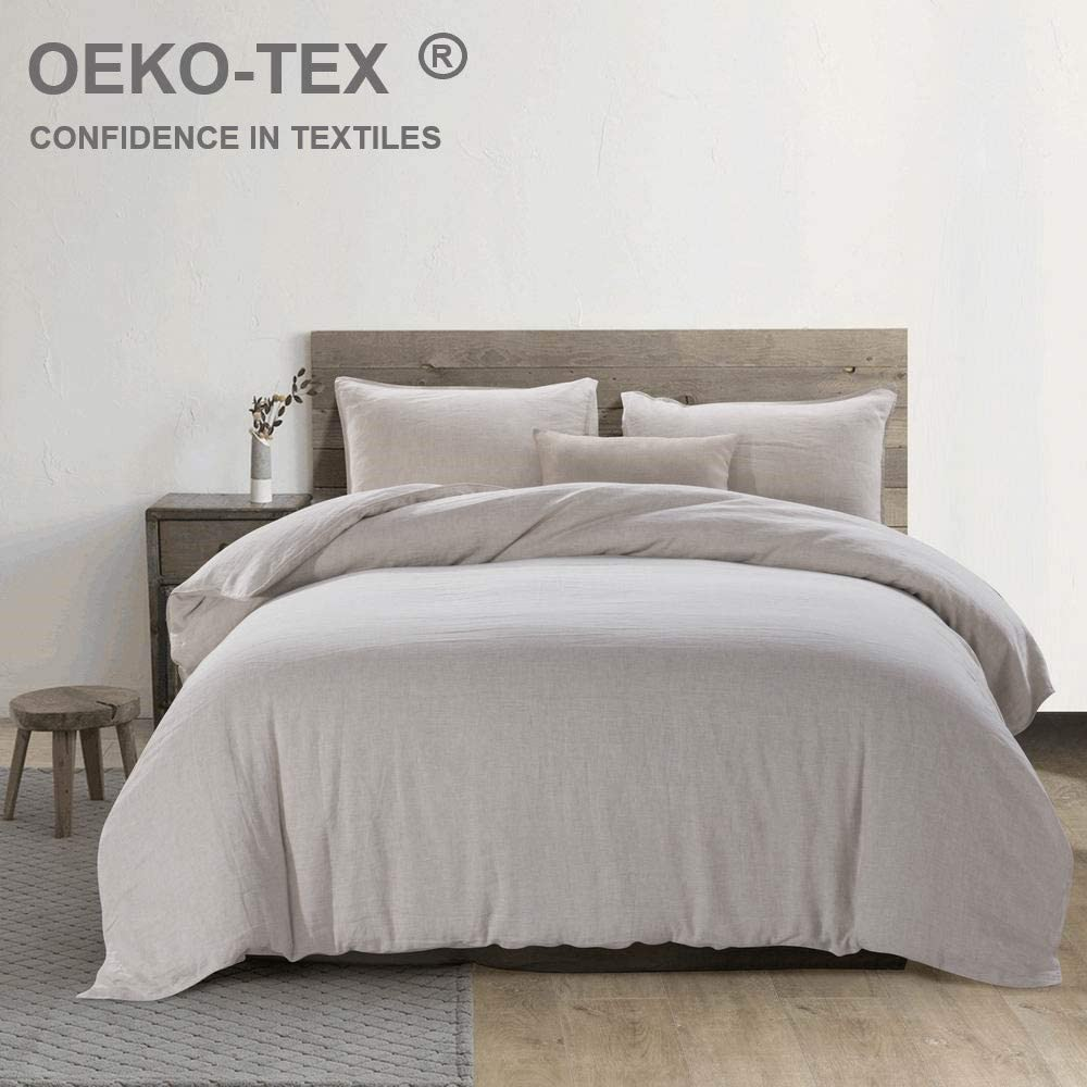 meadow park Stone Washed French Linen Duvet Cover Set 3 Pieces - Super Soft, Queen Size - 90 inches x94 inches - Shams - 20 inches x26 inches, Basic Style, Natural Linen Color