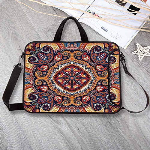 Rug 05 By Ivory (Paisley Decor Neoprene Laptop Bag,Arabic Ornamental Rug Pattern Inspired Design with Flowers and Leaves Laptop Bag for Office Worker Students,12.6