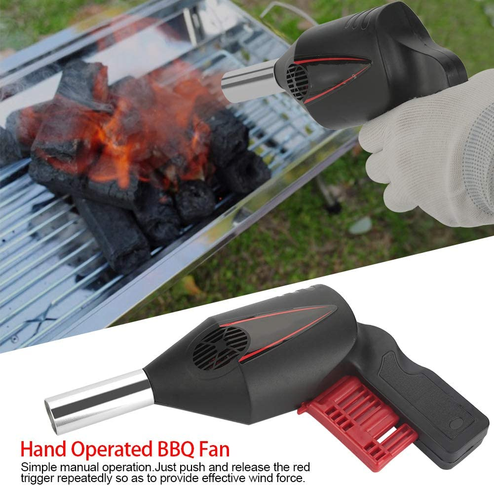 Hand Pressure Type Manual Blower Light A Fire Portable Manual Operated BBQ Fan Air Blower For Outdoor Camping Picnic Grill Barbecue Cooking Tool BBQ Blower
