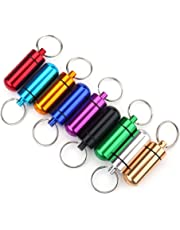 Pill Box,Asixx 9pcs Waterproof Mini Aluminum Pill Case with Keychain Outdoor Medicine Holder,Suitable for Outdoor Using, Fishing, Camping and Hiking