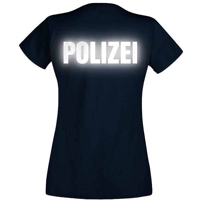 am billigsten Turnschuhe für billige anders Shirt-Panda Damen Polizei T-Shirt - Druck Brust & Rücken Reflex