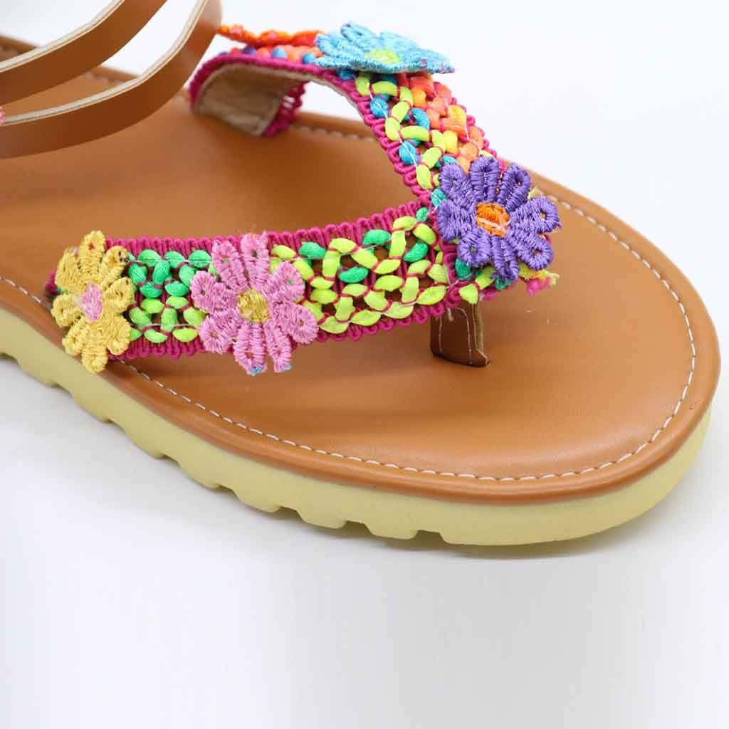 2019 New Womens Casual Retro Roman Handmade Flowers Zipper Round Toe Ankle Flat with Sandals Shoes