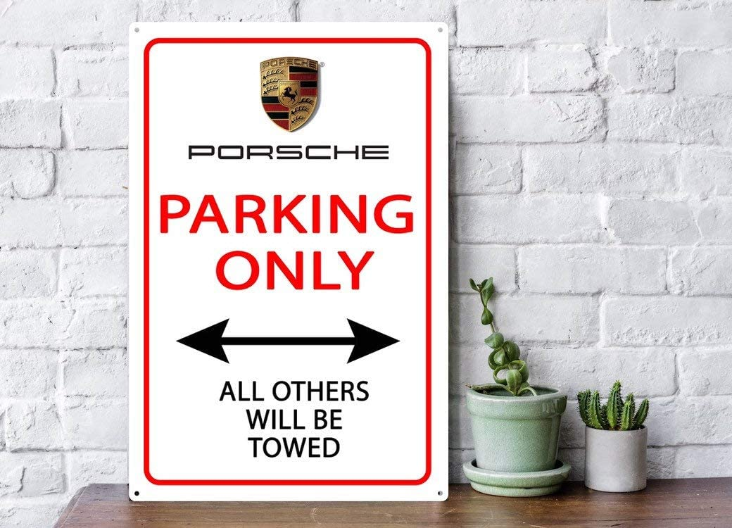 can be customize to your auto garage decor Metal outdoor wall art Parking only sign with Porsche logo car lover gift