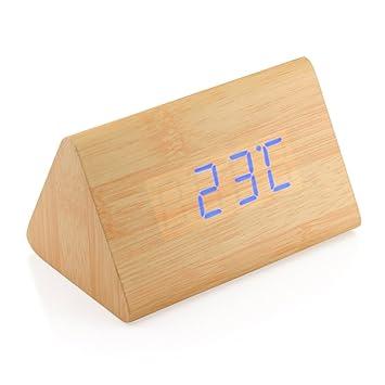 uk saatavuus niin halpa upouusi GEARONIC TM Modern Triangle Wood Clock Digital LED Wooden Alarm Clocks  Digital Desk Thermometer Classical Timer Calendar Updated 2018 Brighter LED  - ...