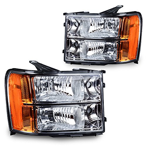 Headlight Assembly or 2007-2013 Sierra 1500/2007-2014 Sierra 2500HD 3500HD Replacement Headlamps Chrome Housing with Amber Reflector Clear - Amber Lens Clear Reflectors
