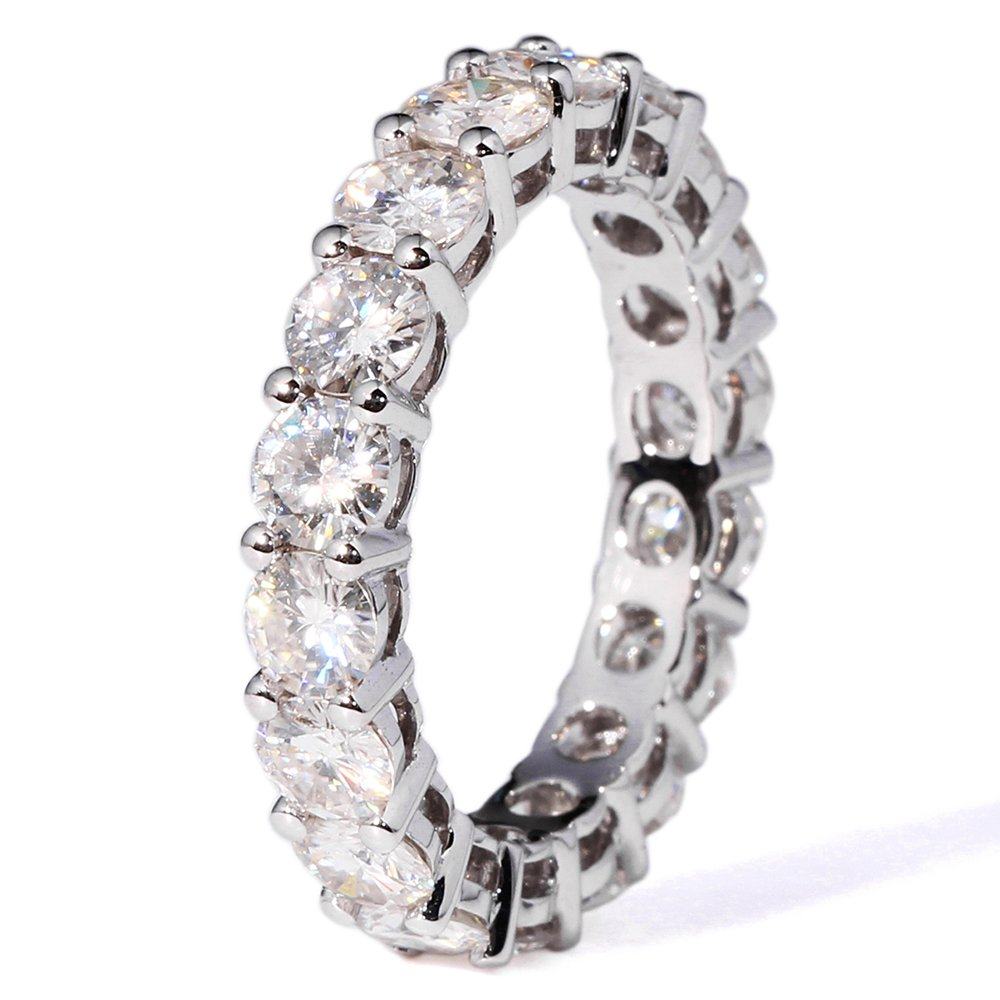 TransGems 2.5 CTW F Color Moissanite Simulated Diamond Eternity Engagement band 14K Gold for Women (6.5) by TransGems (Image #1)