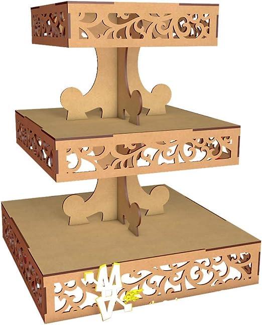 Kit para hacer bandejas cuadradas 3 pisos de madera DM para candy ...