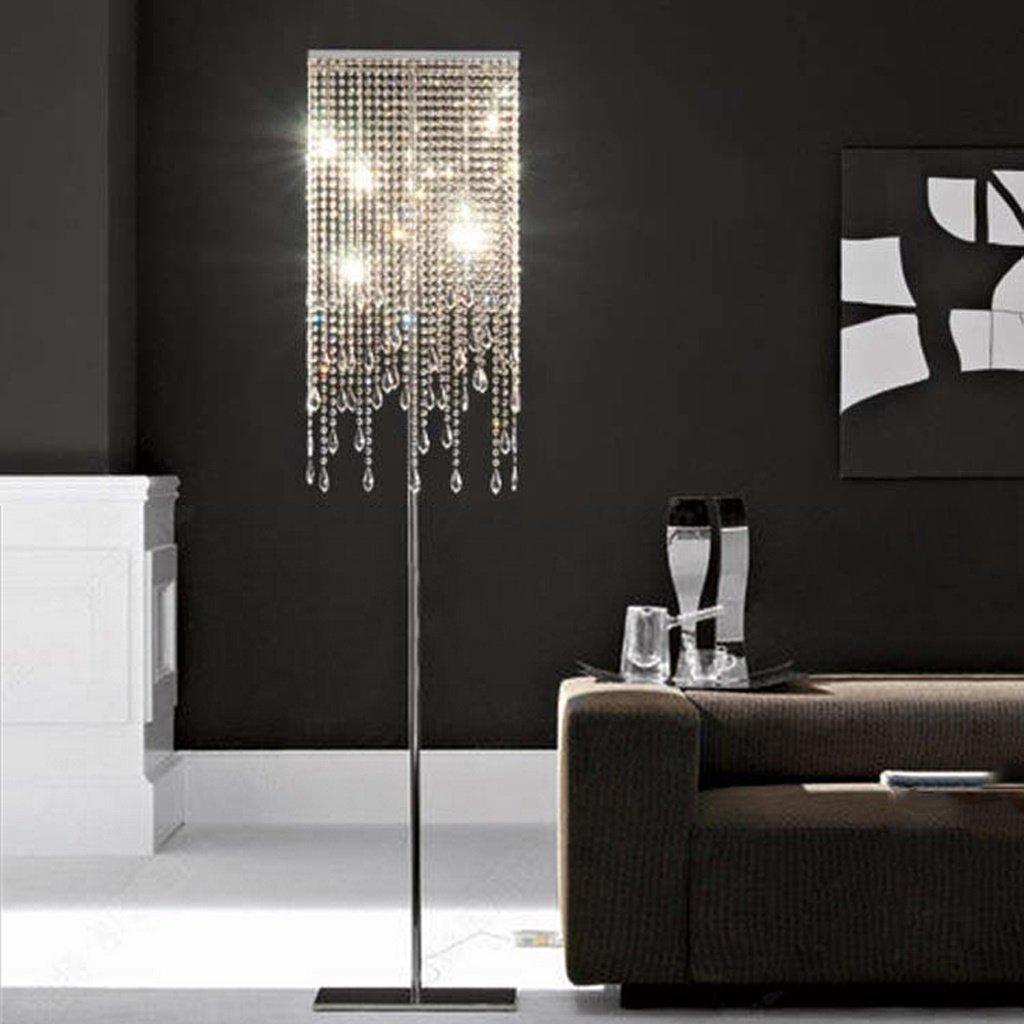 ETERN European luxury crystal floor lamp bedroom living room vertical table lighting