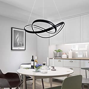 LightInTheBox 90W Modern Chic LED Light Dimmable with Remote Control Chandeliers Circle Pendant Light Ambient Light Metal Bulb Included Ceiling Lighting Fixture for Study Dining Room Office