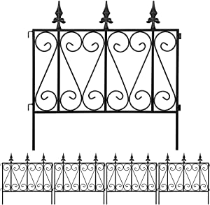 Amagabeli Garden Fence Rustproof Metal Wire Fencing 24inx10ft Outdoor Landscape Decorative Border Edge Section Edging Decor Picket Black Folding Wire Patio Fences Flower Bed Animal Dogs Barrier FC03