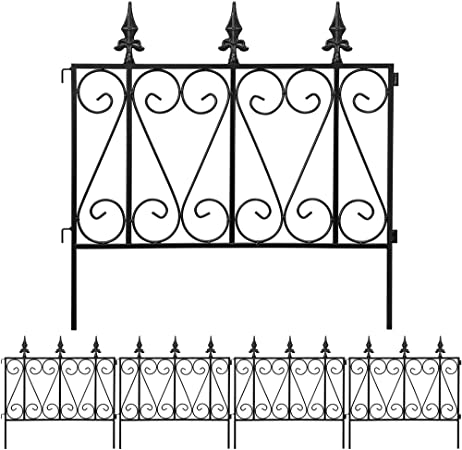 Decorative Garden Fence Rust Proof Iron Border Fence Pack of 5 Black