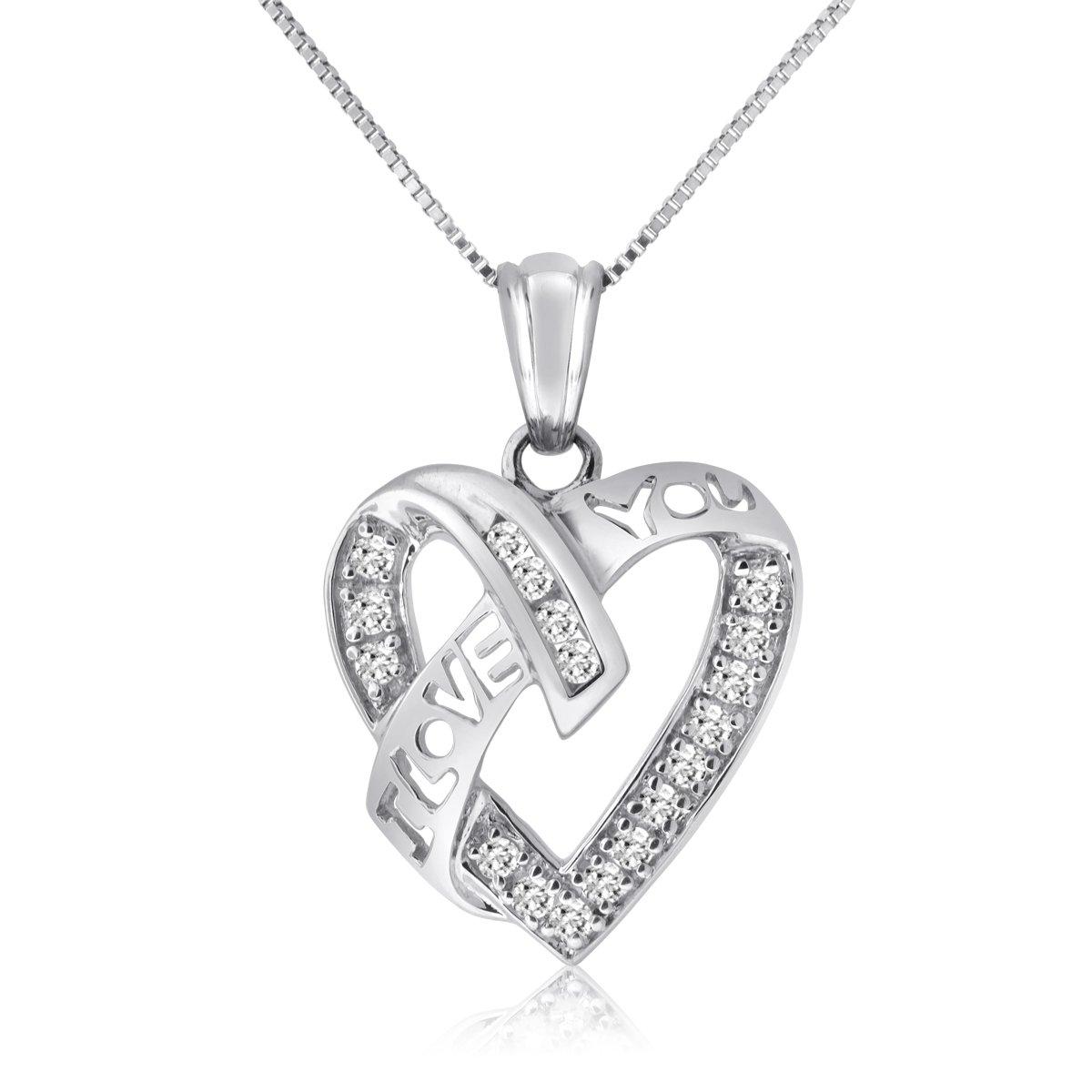 1/4 Cttw ''I Love You'' Diamond Heart Pendant in 10KT White Gold