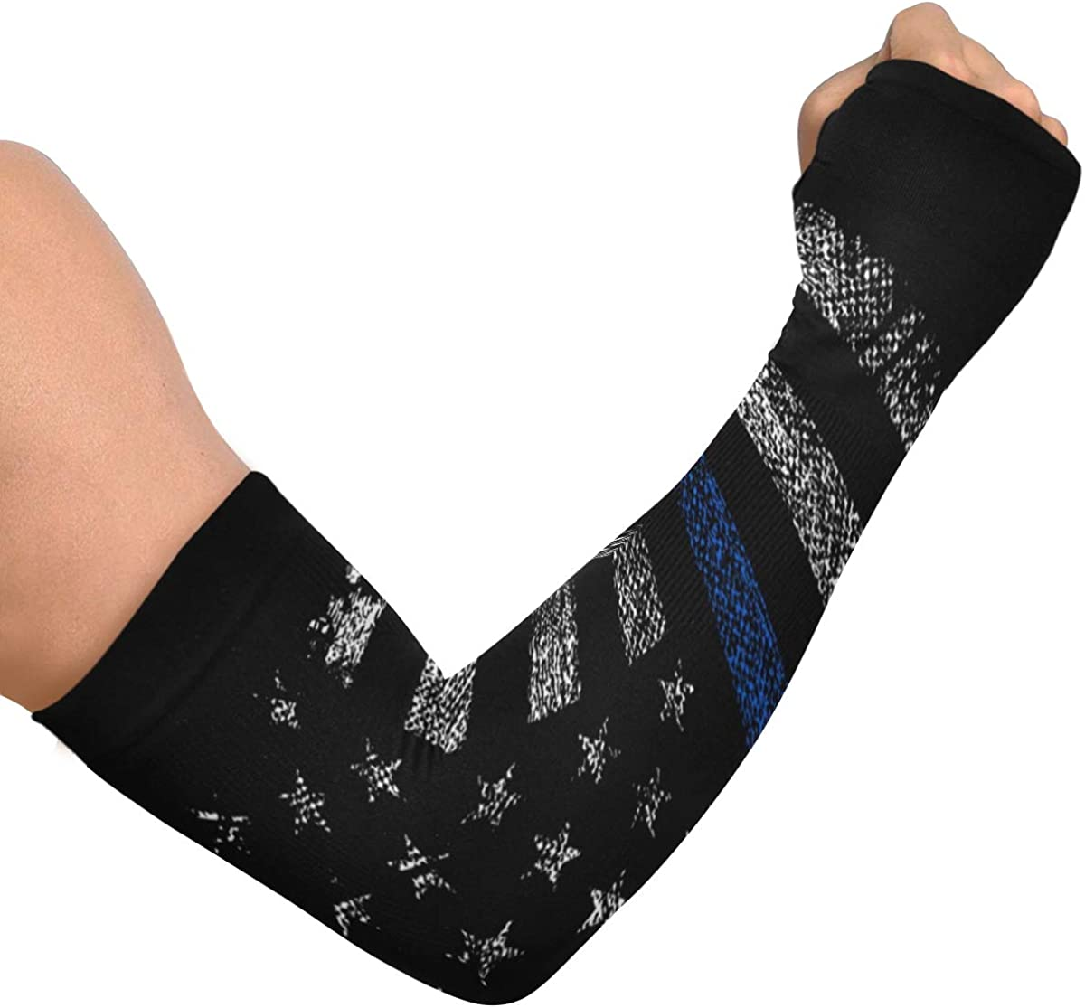 Cooling Arm Sleeves for Men Women, UV Forearm Sleeve to Cover Arms with Thumb Holes for Running Cycling Grunge Usa Police With Thin Blue Line
