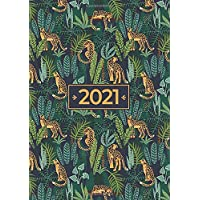 2021 A5 Deluxe Week to View Diary | Leopards Hanging in The Leaves: January to December Budget Planner, Habit Tracker…