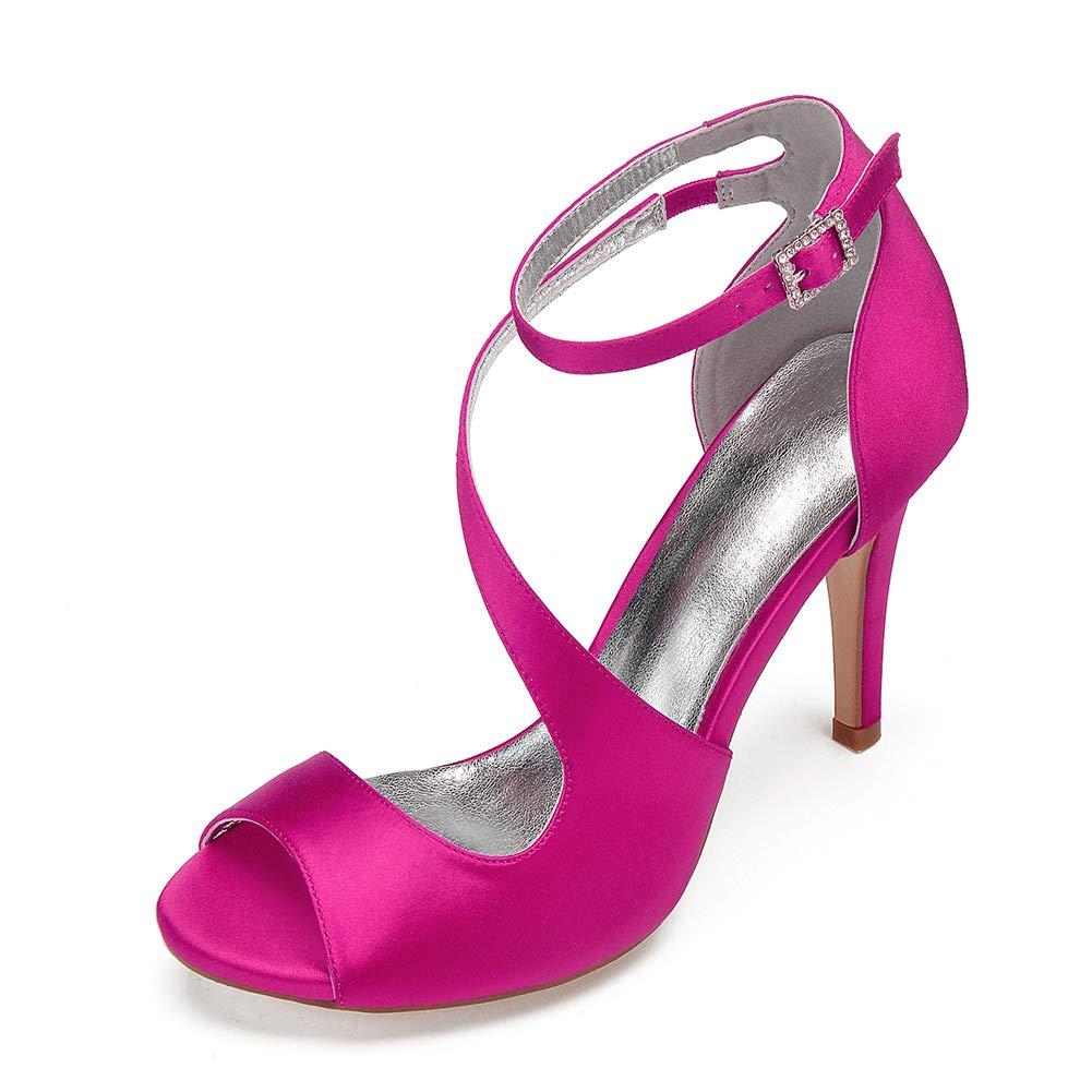 Moojm Sandali per le donne 10,5 centimetri tacco tacco tacco alto multicolore raso con fibbia strass 583fc4