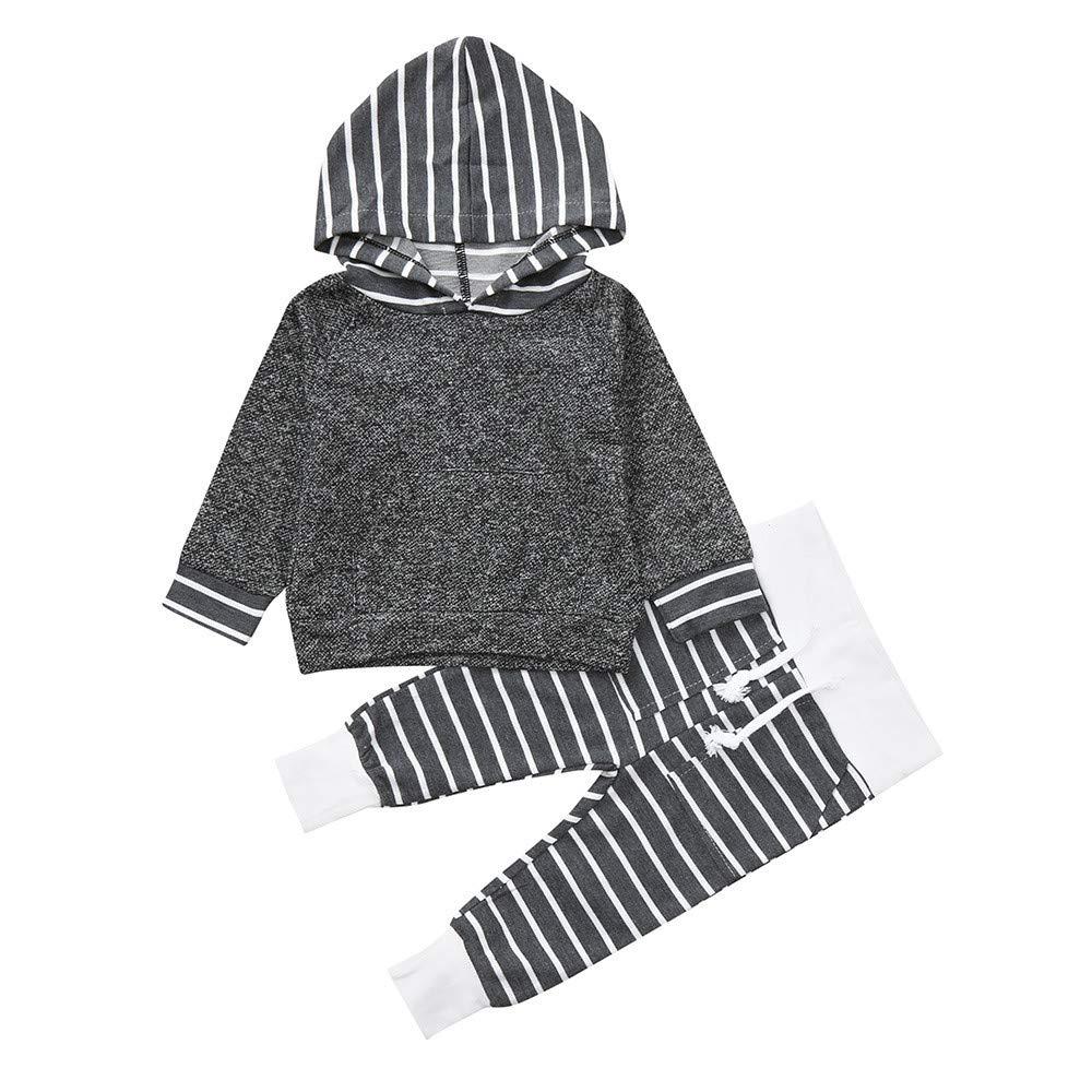 Robemon vêtement bébé Nourrisson bébé Garçons Filles Ensemble de Tenues à Rayures à Capuchon 2pcs Hoodie Sweater Suit 0.5-4Ans