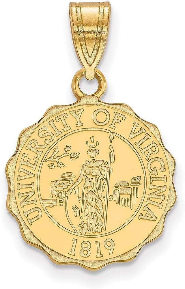 Lex /& Lu LogoArt Sterling Silver w//GP University of Virginia Medium Crest Pendant
