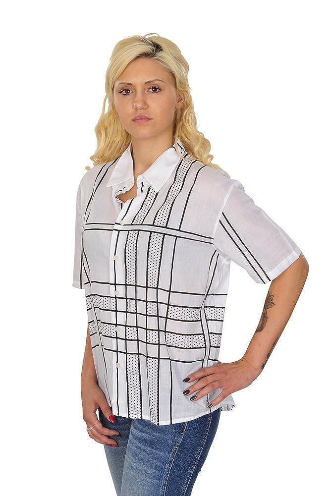 Casual Algodón Burberry Amazon Ancho Negro es Blanco M Mujer Blusa wY6qp7A